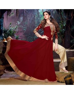 Semi Georgette Red Anarkali Suit - 24008