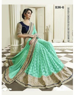 Bollywood Inspired - Wedding Wear Sea Green Half & Half Saree - 1136-A