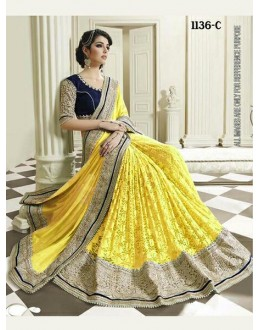 Bollywood Inspired - Wedding Wear Yellow Half & Half Saree - 1136-C