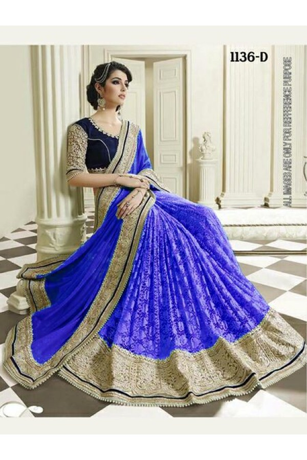 Bollywood Inspired - Wedding Wear Blue Half & Half Saree - 1136-D