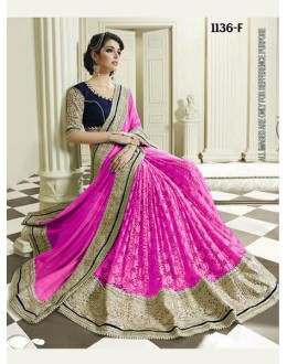 Bollywood Inspired - Wedding Wear Pink Half & Half Saree - 1136-F