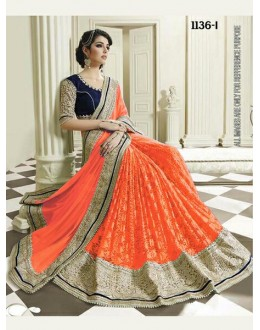 Bollywood Inspired - Wedding Wear Orange Half & Half Saree - 1136-I