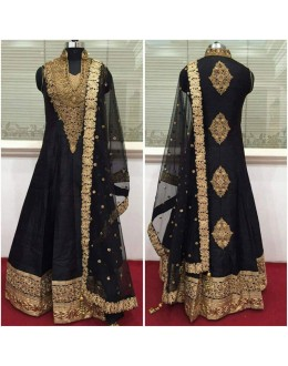 Bollywood Inspired - Wedding Wear Black Raw Silk Anarkali Suit - 9028B