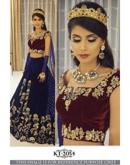 Bollywood Inspired - Wedding Wear Blue Velvet Lehenga Choli  - KT-2054