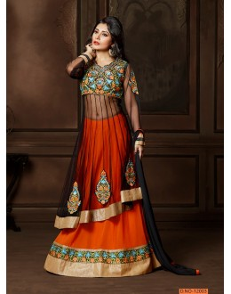 Festival Wear Black Lehenga Style Anarkali Suit  - 12003