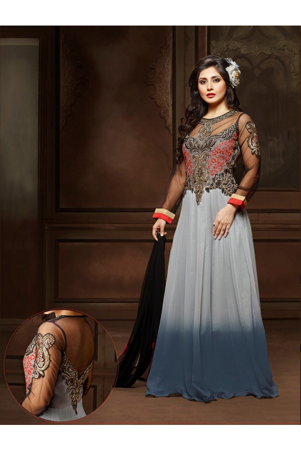 Festival Wear Grey Anarkali Suit  - 12006