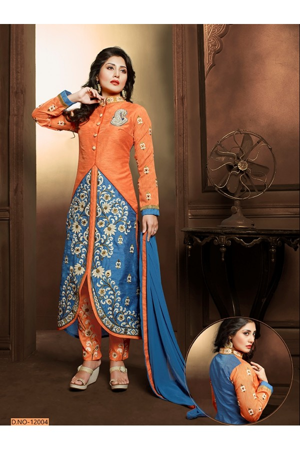 Festival Wear Orange & Blue Salwar Suit  - 12004