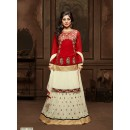 Festival Wear Red & Cream Lehenga Style Anarkali Suit  - 12008