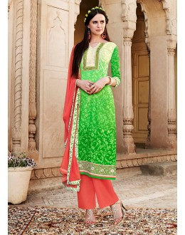 Designer Green Resham Embroidery Cotton Silk Brasso Pakistani Suit  - 4528 ( OFb-603 )