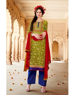 Designer Olive Green Resham Embroidery Cotton Silk Brasso Pakistani Suit  - 4526 ( OFb-603 )