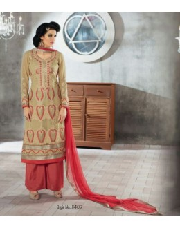 Designer Beige Embroidered Georgette Palazzo Suit - 1409 ( Ofb-621-Rivaa )