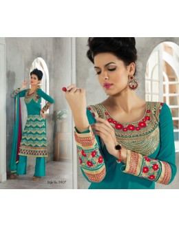 Designer Blue Embroidered Georgette Palazzo Suit - 1407 ( Ofb-621-Rivaa )