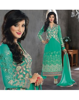 Designer Green Embroidered Georgette Palazzo Suit - 1402 ( Ofb-621-Rivaa )