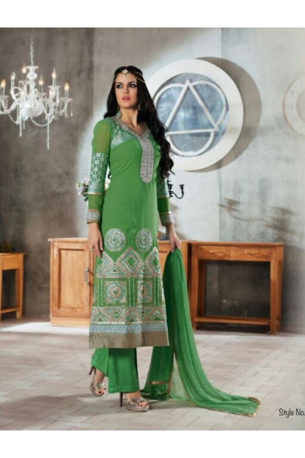 Designer Green Embroidered Georgette Palazzo Suit - 1405 ( Ofb-621-Rivaa )