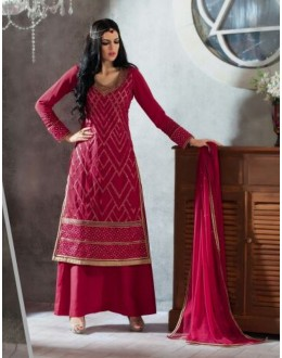 Designer Magenta Embroidered Georgette Palazzo Suit - 1403 ( Ofb-621-Rivaa )