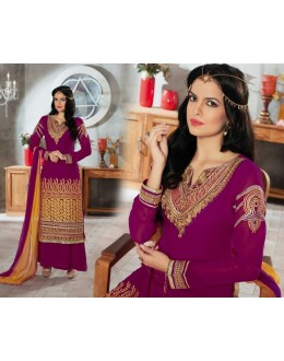 Designer Magenta Embroidered Georgette Palazzo Suit - 1408 ( Ofb-621-Rivaa )