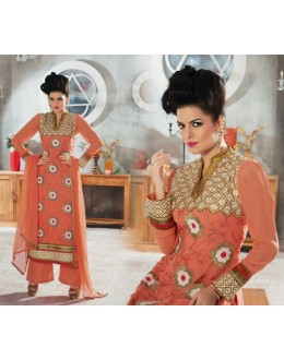 Designer Peach Embroidered Georgette Palazzo Suit - 1406 ( Ofb-621-Rivaa )