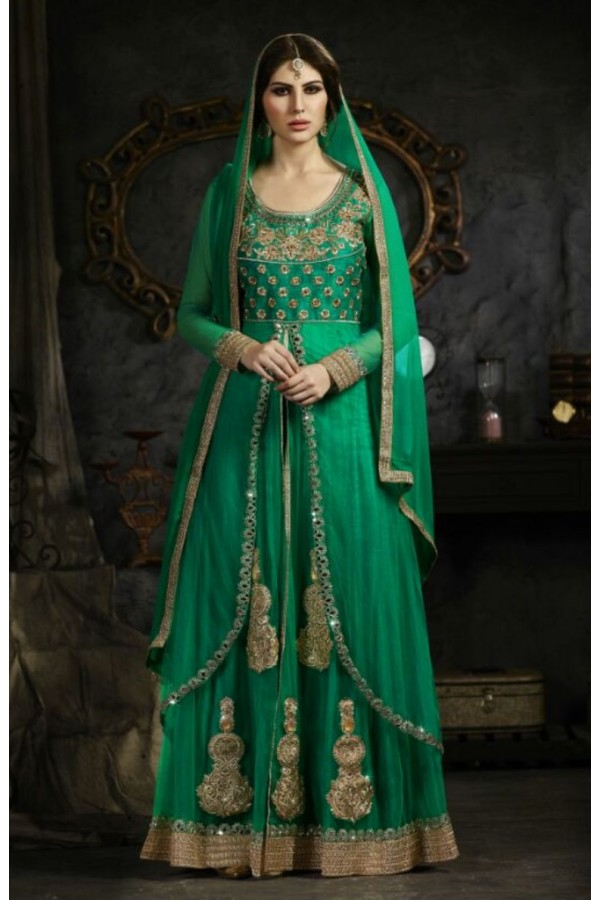 Designer Green Heavy Embroidered Net Anarkali Palazzo Suit - S-13 ( Ofb-631 )