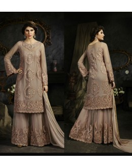 Designer Light Brown Heavy Embroidered Net Palazzo Suit - S-12 ( Ofb-631 )