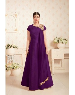 Party Wear Purple Fentam Anarkali Suit  - 199