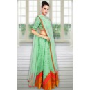 Navratri Special Light Green Raw Silk Lehenga Choli - WA0246