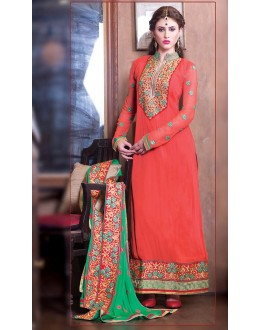Festival Wear Peach & Green Georgette Salwar Suit - 11001