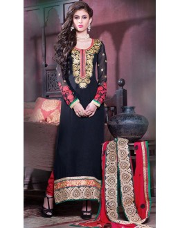 Festival Wear Black & Red Georgette Salwar Suit - 11003