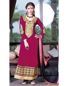 Party Wear Pink & Black Georgette Salwar Suit - 11005