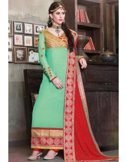 Party Wear Green & Red Georgette Salwar Suit - 11006