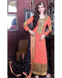 Wedding Wear Peach & Black Georgette Salwar Suit - 11007