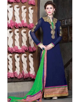 Wedding Wear Blue & Green Georgette Salwar Suit - 11008