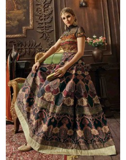 Party Wear Multicolour Silk Anarkali Suit - 7007