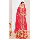 Ethnic Wear Red Georgette Salwar Suit With Lehenga - 801