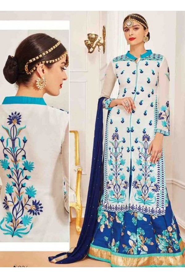 Ethnic Wear White Georgette Salwar Suit With Lehenga - 806