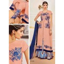 Designer Peach Georgette Salwar Suit With Lehenga - 808