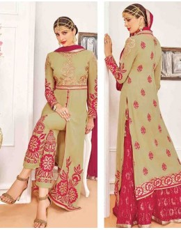 Festival Wear Beige Georgette Salwar Suit With Lehenga - 809