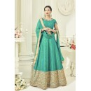 Wedding Wear Rama Green Two Tone Silk Anarkali Suit - 18016