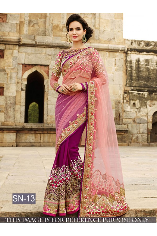 Bollywood Replica - Wedding Wear Pink & Purple Saree - SN-13