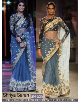 Bollywood Replica - Shriya saran In Designer Grey Net Saree - SN-539