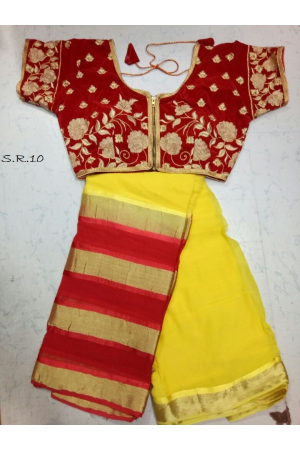 Ethnic Wear Yellow Saree With Fully Stitched Blouse - SR10