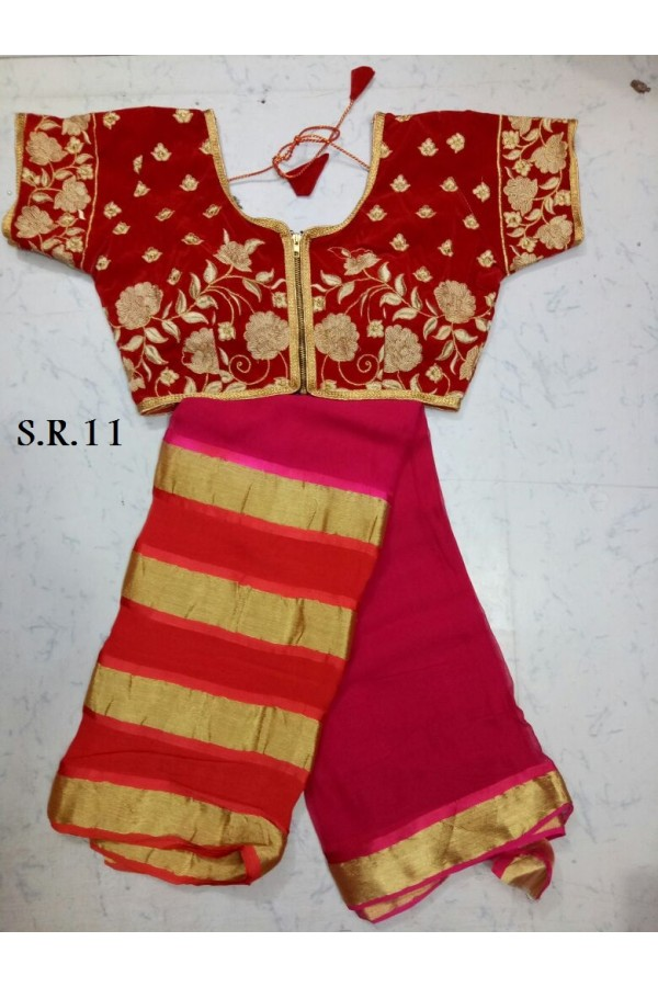 Festival Wear Pink Saree With Fully Stitched Blouse - SR11