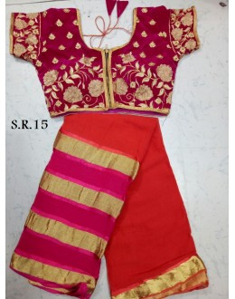 Party Wear Red Saree With Fully Stitched Blouse - SR15