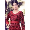 Party Wear Red & Black Georgettei Anarkali Suit  - 33016