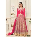 Mouni Roy In Pink Banarasi Silk Anarkali Suit  - 12082