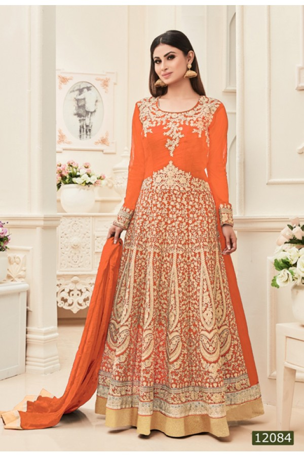 Mouni Roy In Orange Banarasi Silk Anarkali Suit  - 12084