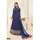 Mouni Roy In Blue Tapeta Silk Anarkali Suit  - 12085