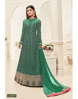 Mouni Roy In Green Banarasi Silk Anarkali Suit  - 12087