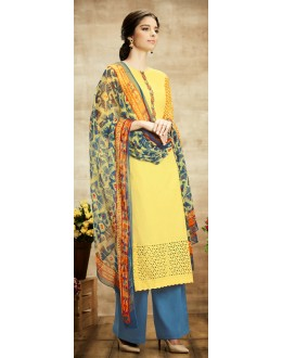 Party Wear Yellow & Blue Palazzo Suit - 101