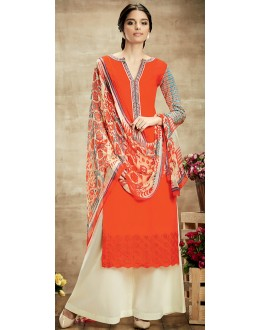 Party Wear Coral Red & Cream Palazzo Suit - 102