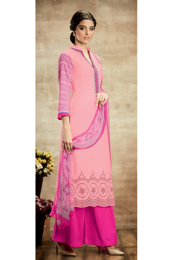 Party Wear Pink Cotton Palazzo Suit - 103